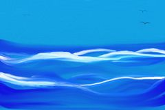 Stormy sea with big waves and blue sky. Abstract painting of stormy sea with big waves, blue sky and three flying birds royalty free illustration