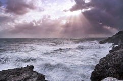 Stormy sea and cloudy sky Royalty Free Stock Photography