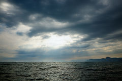 Stormy sea. With cumulonimbus clouds Royalty Free Stock Photo