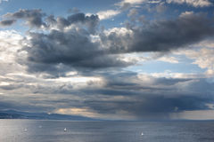 Stormy sea. Dramatic landscape - dark stormy sky, sea waves Stock Images