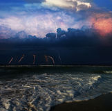 Stormy sea. And flashes of lightning on the horizon Stock Photo