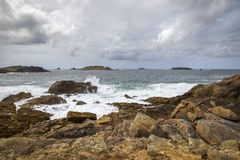 Stormy sea at Hell Bay, Bryher, Isles of Scilly, England Stock Photo