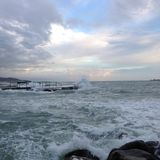Stormy sea in Leghorn. Photo showing stormy sea in Leghorn Royalty Free Stock Photos
