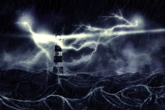 Stormy Sea and Lighthouse Vector Illustration