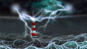 Stormy Sea and Lighthouse Royalty Free Stock Images
