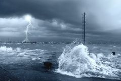 Stormy sea with lightning. And big waves Stock Images