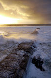 Stormy sea. Long jetty running out into stormy ocean Stock Images