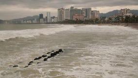 Stormy Sea Nha Trang Vietnam HD Movie stock footage