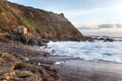 Stormy Sea at Priest's Cove. On Cape Cornwall near Land's End on the Cornish coast royalty free stock photography