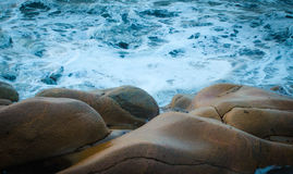 Stormy sea and rocky beach Royalty Free Stock Photo