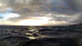 Stormy sea. Rough sea with huge waves splash a coast stock footage