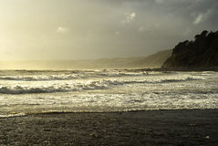 Stormy sea at seaton cornwall Royalty Free Stock Photo