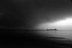Stormy drama sea sky with ship