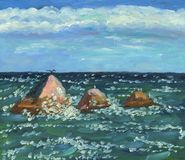 Stormy sea at sunny day. Rocks in the waves. Stormy sea at sunny day. Rocks in the middle of the waves under clouds. Oil painting. Rough brushstrokes texture vector illustration