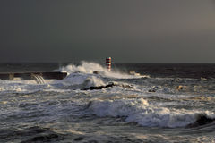 Stormy sea at sunset Stock Photos