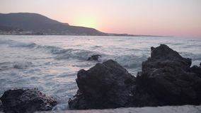 Stormy Sea at Sunset stock footage