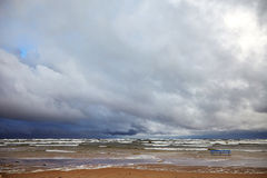 Stormy sea. View of beach and stormy sea Stock Images