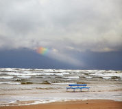 Stormy sea. View of beach and stormy sea Stock Photo