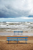 Stormy sea. View of beach and stormy sea Royalty Free Stock Photo