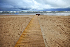 Stormy sea. View of beach and stormy sea Royalty Free Stock Images