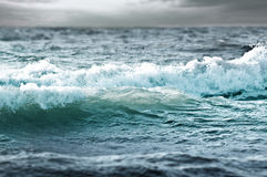 Stormy sea waves - blue and green background Stock Photo