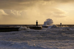 Stormy sea waves at winter sunset Royalty Free Stock Photos