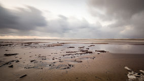 Stormy sea in winter with white waves crushing. long exposure Royalty Free Stock Photos