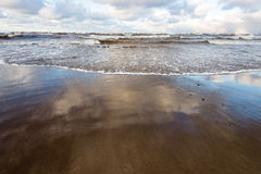 Stormy sea in winter with white waves crushing Royalty Free Stock Photo