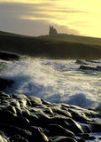 Stormy Seas. Mullaghmore, Co.Sligo, Ireland, at sunrise with Classiebawn Castle (former home of Lord Mountbatten Of Burma) in background Stock Photos