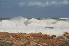 Stormy seas. With huge wild waves off the coast Royalty Free Stock Photography