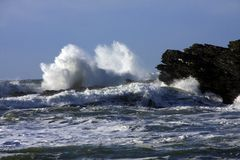 Stormy seas. On the Isle of Anglesey North Wales UK stock images