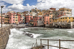 Stormy seas at Boccadasse, Genoa, Italy Stock Photography