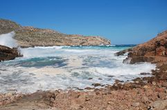Stormy seas at Cala Carbo, Majorca. Stormy seas break on Cala Carbo beach at Cala San Vicente on the Spanish island of Majorca stock photography