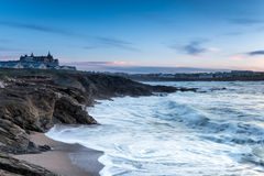 Stormy Seas at Newquay. Stormy seas at Fistral beach at dusk in Newquay on the north Cornwall coast stock photos