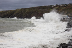 Stormy seas at Peel Isle of Man Stock Images