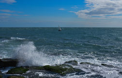 Stormy Seas. This picture was taken at Portland Bill in Aug 2014 on a nice windy day near the lighthouse stock photo
