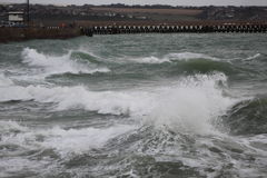 Stormy Seas. Windy day @ Newhaven Beach, East Sussex stock photo