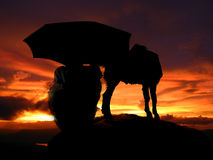 Stormy Shepherd. A silhouette of an Indian shepherd with his goat sitting under stormy skies Royalty Free Stock Image