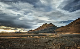 Stormy Skies above Icelandic Volcanoes Stock Photos