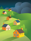 Stormy Skies Ahead For Real Estate. Dark, menacing storm clouds foreshadow storms for a peaceful group of houses. Good metaphor for the real estate/housing royalty free illustration