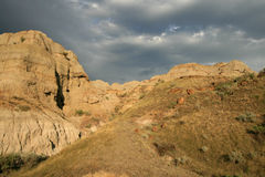 Stormy Skies in the Badlands Royalty Free Stock Images