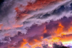 Stormy skies at sunset Stock Image