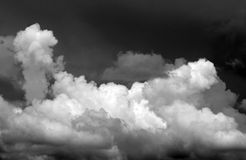 Stormy skies. White cumulus clouds in a stormy sky in tropical south florida stock photography