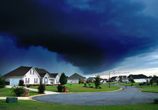 Stormy Sky. Here is a picture of a storm rolling into this small community Royalty Free Stock Photos