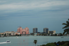 A stormy sky as you go over the bridge onto Clearwater Beach, Florida. Stock Images