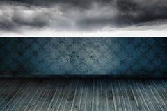 Stormy sky beyond balcony. Stormy sky beyond wallpaper balcony Stock Images
