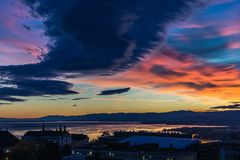 Stormy sky at blue hour. Lausanne city Royalty Free Stock Images