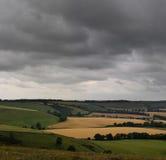 Stormy sky farmland landscape Royalty Free Stock Image