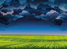 Stormy sky and green meadow. Royalty Free Stock Photos