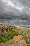 Stormy Sky at Head-smashed-in. Landscape of a stormy sky at Head-Smashed-In Buffalo Jump heritage site Royalty Free Stock Photo